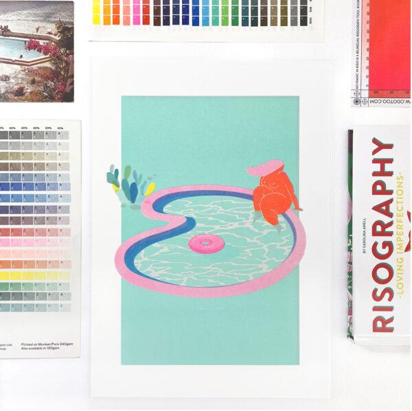 Take a Dip risograph print